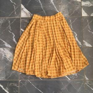 Lularoe skirt mustard plaid size xs